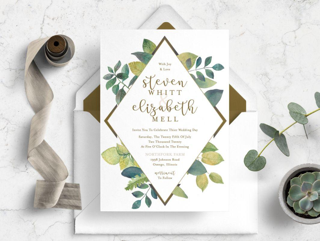 greenery in wedding invitation amore creative