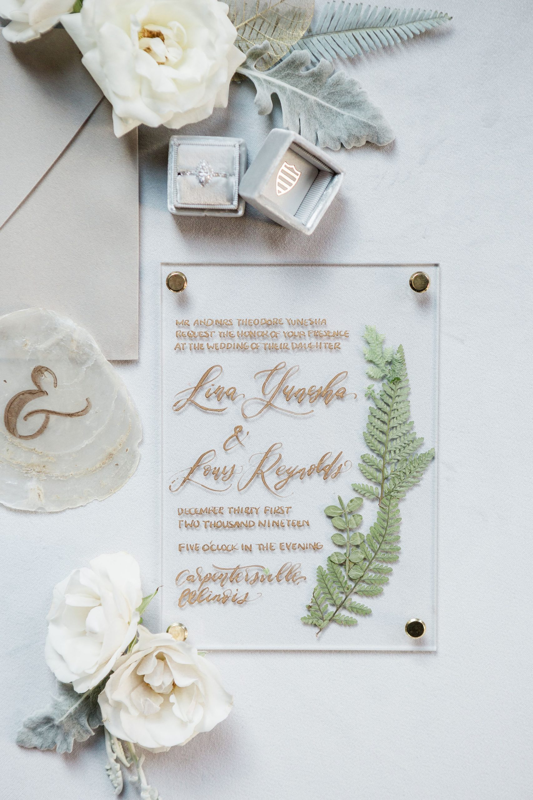Invitation - Romantic Grey Industrial Wedding | The Industria by The Brix, Elgin, IL