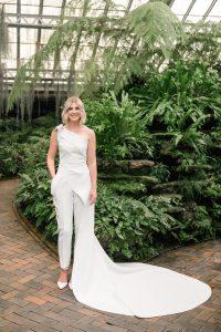 modern wedding | garfield park conservatory | wedding jumpsuit