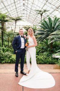 modern wedding   garfield park conservatory   wedding jumpsuit